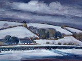 Snow at Llangeitho - acrylic - private collection