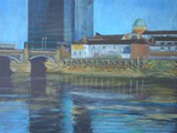 The River Usk at Newport - acrylic- private collection